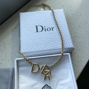 Dior Gold Choker Necklace Logo Brand New